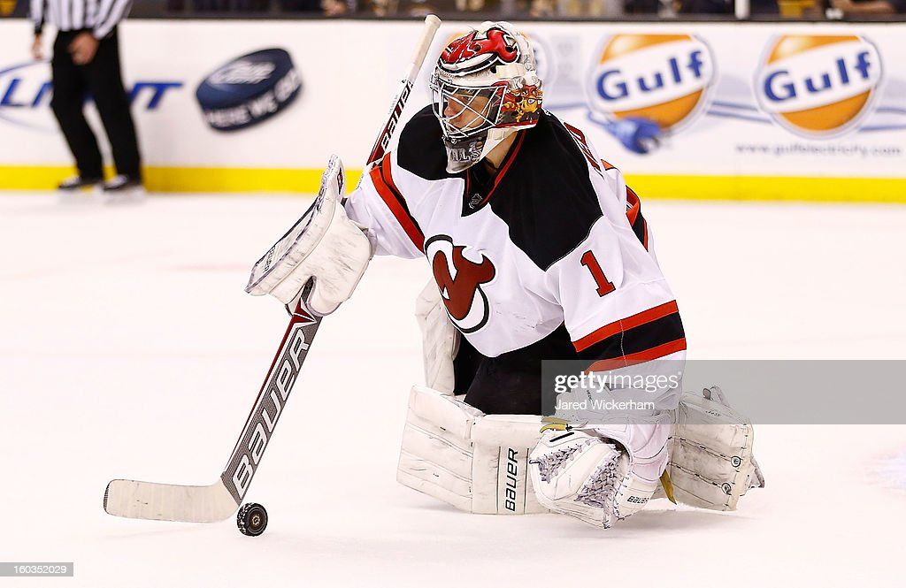 <a gi-track='captionPersonalityLinkClicked' href=/galleries/search?phrase=Johan+Hedberg&family=editorial&specificpeople=202078 ng-click='$event.stopPropagation()'>Johan Hedberg</a> #1 of the New Jersey Devils makes a save against the Boston Bruins during the game on January 29, 2013 at TD Garden in Boston, Massachusetts.