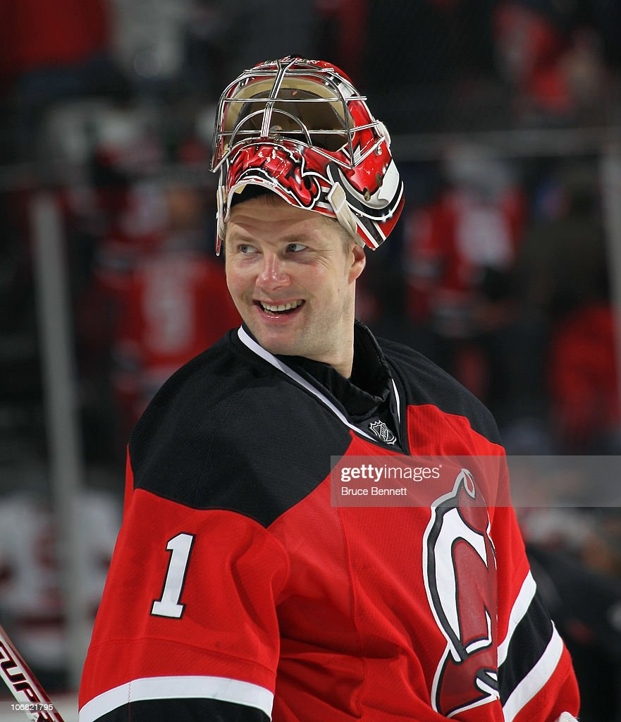 Johan Hedberg of the New Jersey Devils skates against the Buffalo Sabres at the Prudential Center on November 10 2010 in Newark New Jersey The Sabres...