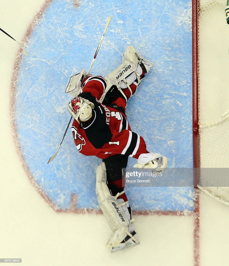 <a gi-track='captionPersonalityLinkClicked' href=/galleries/search?phrase=Johan+Hedberg&family=editorial&specificpeople=202078 ng-click='$event.stopPropagation()'>Johan Hedberg</a> #1 of the New Jersey Devils skates against the Pittsburgh Penguins at the Prudential Center on April 25, 2013 in Newark, New Jersey. The Devils defeated the Penguins 3-2.