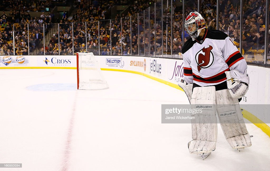 <a gi-track='captionPersonalityLinkClicked' href=/galleries/search?phrase=Johan+Hedberg&family=editorial&specificpeople=202078 ng-click='$event.stopPropagation()'>Johan Hedberg</a> #1 of the New Jersey Devils skates while waiting for the shootout to begin against the Boston Bruins on January 29, 2013 at TD Garden in Boston, Massachusetts.