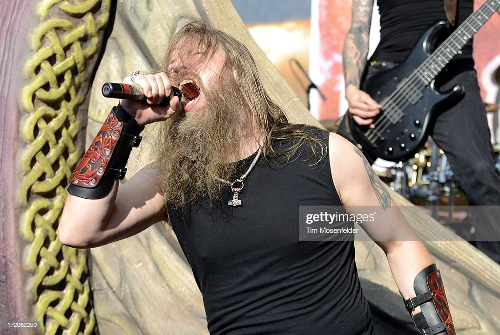 <a gi-track='captionPersonalityLinkClicked' href=/galleries/search?phrase=Johan+Hegg&family=editorial&specificpeople=5400863 ng-click='$event.stopPropagation()'>Johan Hegg</a> of Amon Amarth performs as part of the Rockstar Energy Drink Mayhem Festival at Shoreline Amphitheatre on June 30, 2013 in Mountain View, California.