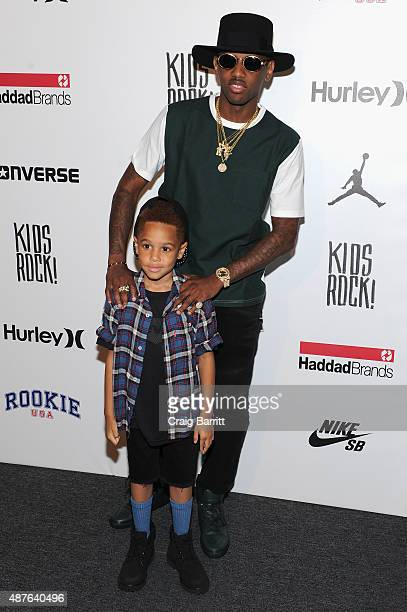 Johan Jackson and Fabolous pose backstage at the Kids Rock fashion show during Spring 2016 New York Fashion Week The Shows at The Dock Skylight at...