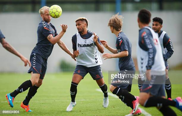 Johan Larsson and Hany Mukhtar of Brondby IF compete for the ball during the Brondby IF training session at Brondby Stadion on June 20 2017 in...