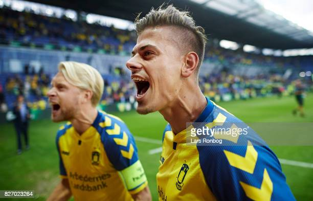 Johan Larsson and Jan Kliment of Brondby IF celebrate after the Danish Alka Superliga match between Brondby IF and FC Copenhagen at Brondby Stadion...