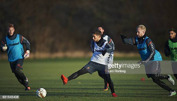 Johan Larsson of Brondby IF and Andrew Hjulsager of Brondby IF compete for the ball during the Brondby IF training session at Brondby Stadion on...
