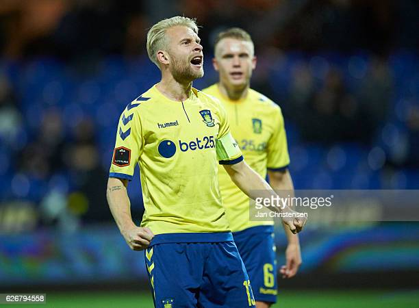 Johan Larsson of Brondby IF and Hjötur Hermannsson of Brondby IF celebrate after the Danish Alka Superliga match between Randers FC and Brondby IF at...