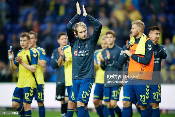 Johan Larsson of Brondby IF and teammates celebrate after the Danish Alka Superliga match between Brondby IF and Silkeborg IF at Brondby Stadion on...