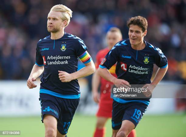 Johan Larsson of Brondby IF celebrate after his 01 goal during the Danish Alka Superliga match between FC Nordsjalland and Brondby IF at Right to...