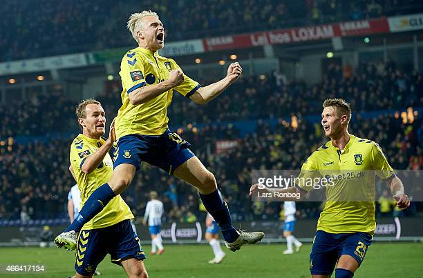 Johan Larsson of Brondby IF celebrates after scoring their first goal during the Danish Alka Superliga match between Brondby IF and OB Odense at...