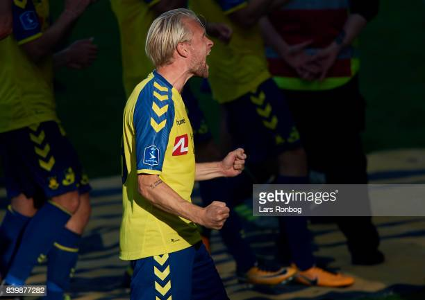 Johan Larsson of Brondby IF celebrates after the Danish Alka Superliga match between Brondby IF and AC Horsens at Brondby Stadion on August 27 2017...