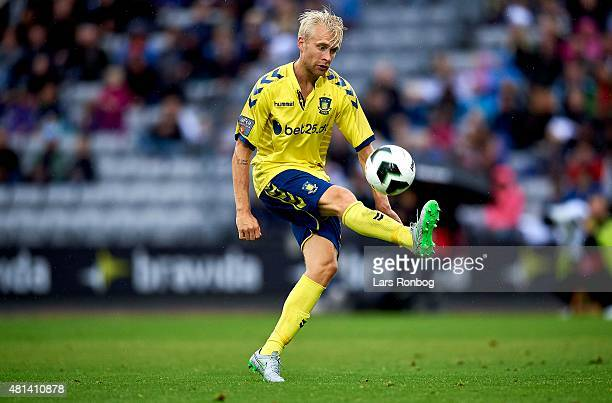 Johan Larsson of Brondby IF controls the ball during controls the ball during the Danish Alka Superliga match between AGF Aarhus and Brondby IF at...