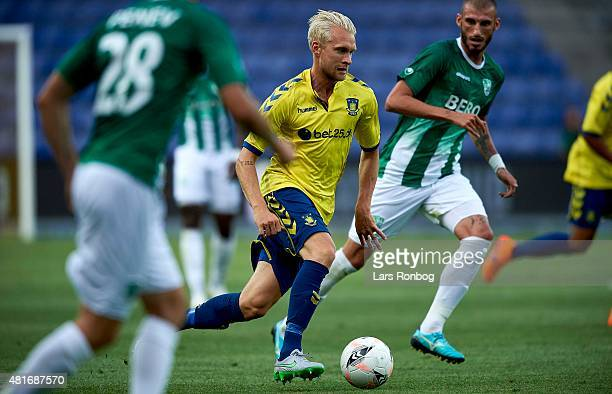 Johan Larsson of Brondby IF controls the ball during the UEFA Europa League Qualification match between Brondby IF and PFC Beroe Stara Zagora at...