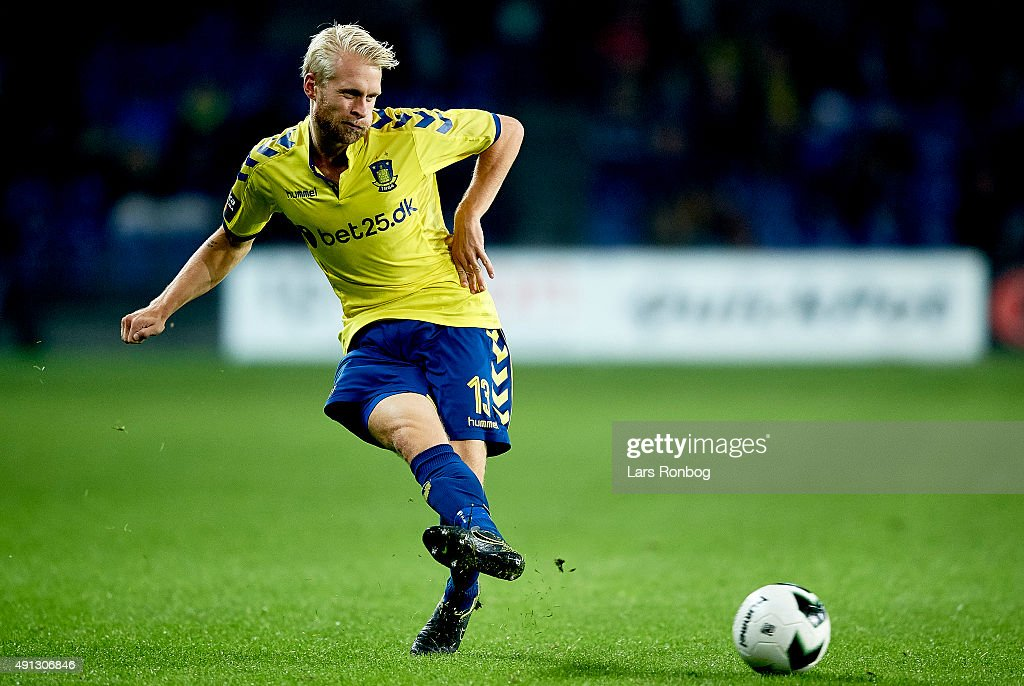 Johan Larsson of Brondby IF in action during the Danish Alka Superliga match between Brondby IF and Esbjerg fB at Brondby Stadion on October 4, 2015 in Brondby, Denmark.