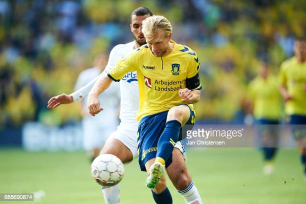 Johan Larsson of Brondby IF in action during the Danish Cup Final DBU Pokalen match between FC Copenhagen and Brondby IF at Telia Parken Stadium on...