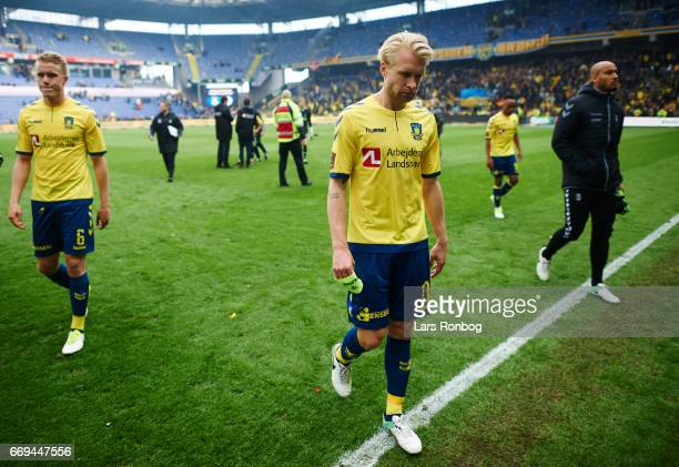 Johan Larsson of Brondby IF looks dejected after the Danish Alka Superliga match between Brondby IF and FC Copenhagen at Brondby Stadion on April 17...