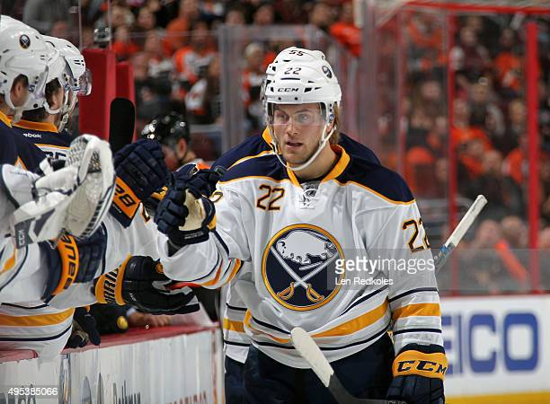 Johan Larsson of the Buffalo Sabres celebrates a first period goal with teammates against the Philadelphia Flyers on October 27 2015 at the Wells...