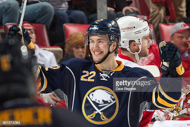 Johan Larsson of the Buffalo Sabres celebrates his game winning goal with teammates in the third period of an NHL game against the Detroit Red Wings...