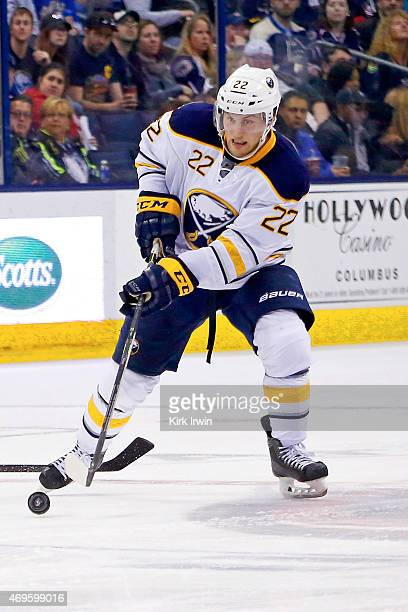 Johan Larsson of the Buffalo Sabres controls the puck during the game against the Columbus Blue Jackets on April 10 2015 at Nationwide Arena in...