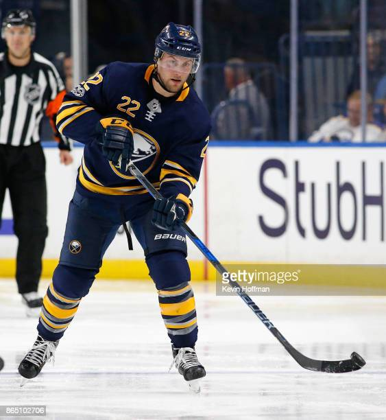 Johan Larsson of the Buffalo Sabres during the game against the Vancouver Canucks at the KeyBank Center on October 20 2017 in Buffalo New York