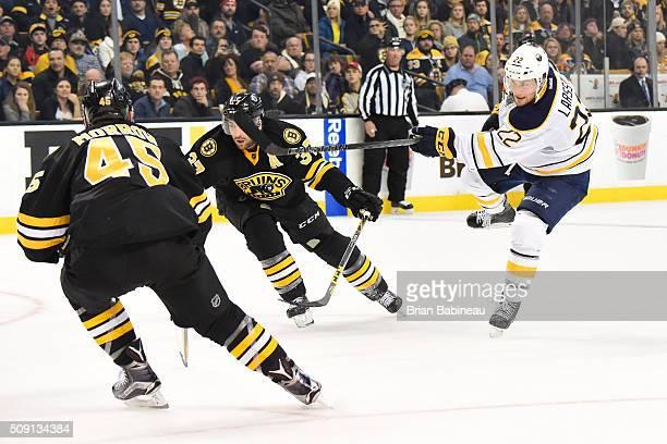 Johan Larsson of the Buffalo Sabres shoots the puck against the Boston Bruins at the TD Garden on February 6 2016 in Boston Massachusetts
