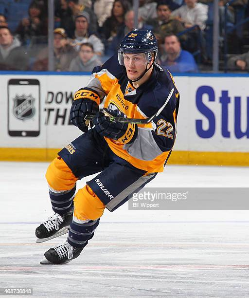 Johan Larsson of the Buffalo Sabres skates against the Arizona Coyotes on March 26 2015 at the First Niagara Center in Buffalo New York