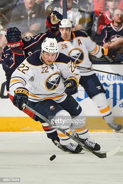 Johan Larsson of the Buffalo Sabres skates against the Columbus Blue Jackets on April 10 2015 at Nationwide Arena in Columbus Ohio
