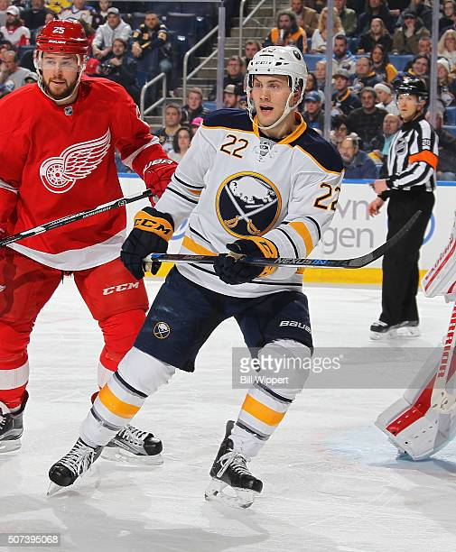 Johan Larsson of the Buffalo Sabres skates against the Detroit Red Wings during an NHL game on January 22 2016 at the First Niagara Center in Buffalo...