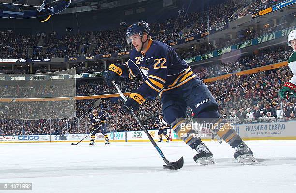 Johan Larsson of the Buffalo Sabres skates against the Minnesota Wild during an NHL game on March 5 2016 at the First Niagara Center in Buffalo New...