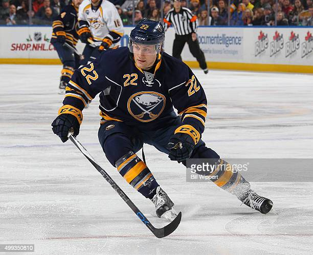Johan Larsson of the Buffalo Sabres skates against the Nashville Predators during an NHL game on November 25 2015 at the First Niagara Center in...