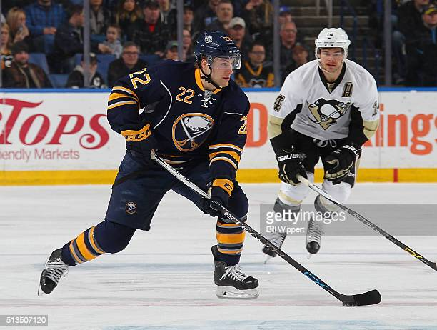 Johan Larsson of the Buffalo Sabres skates against the Pittsburgh Penguins during an NHL game on February 21 2016 at the First Niagara Center in...
