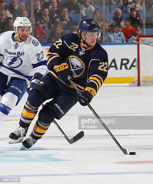 Johan Larsson of the Buffalo Sabres skates against the Tampa Bay Lightning during an NHL game on November 5 2015 at the First Niagara Center in...
