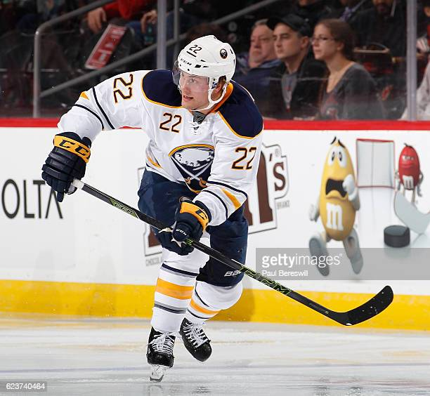 Johan Larsson of the Buffalo Sabres skates in an NHL hockey game against the New Jersey Devils at Prudential Center on November 12 2016 in Newark New...