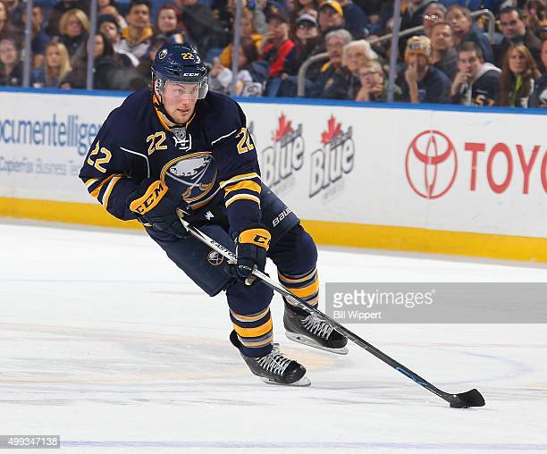 Johan Larsson of the Buffalo Sabres skates with the puck against the St Louis Blues during an NHL game on November 23 2015 at the First Niagara...