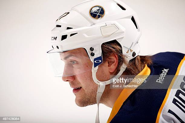 Johan Larsson of the Buffalo Sabres stretches on the ice prior to the start of the game against the Florida Panthers at the BBT Center on November 12...