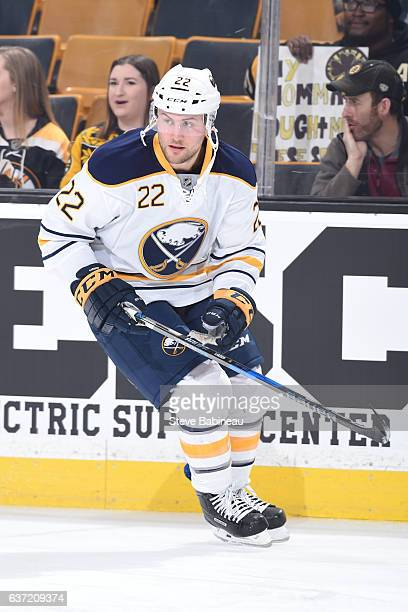 Johan Larsson of the Buffalo Sabres warms up against the Boston Bruins at the TD Garden on December 31 2016 in Boston Massachusetts