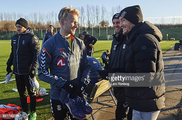 Johan Larsson speaks to Thomas Kahlenberg of Brondby IF during halftime in the preseason friendly match between Brondby IF and KFUM Roskilde at...