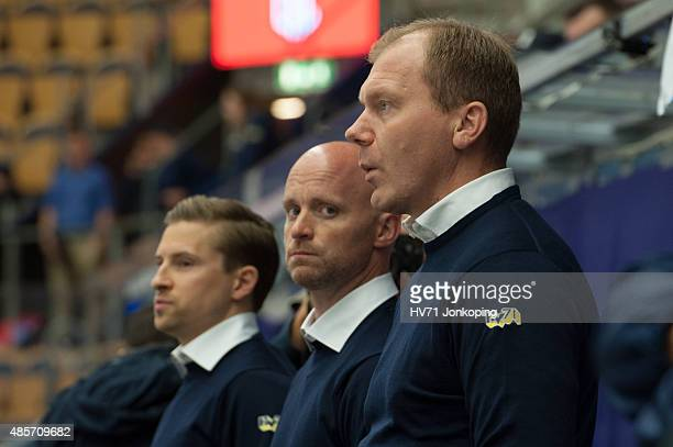 Johan Lindbom coach headcoach of HV71 and Tim Brithen assistant coach of HV71 during the Champions Hockey League group stage game between HV71...