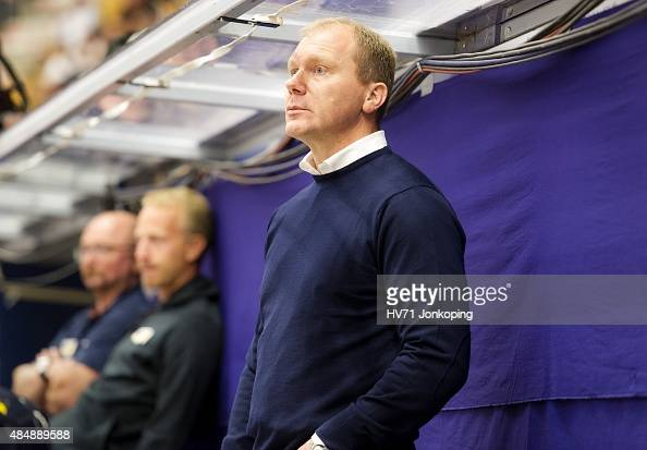 Johan Lindbom headcoach of HV71 during the Champions Hockey League group stage game between HV71 Jonkoping and Red Bull Salzburg on August 22 2015 in...