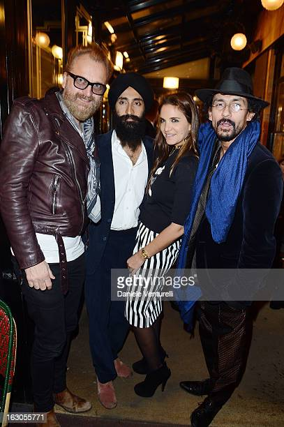 Johan Lindeberg Waris Ahluwahlia and Haider Ackermann attend the Bulgari And Purple Magazine Party at Cafe de Flore on March 3 2013 in Paris France