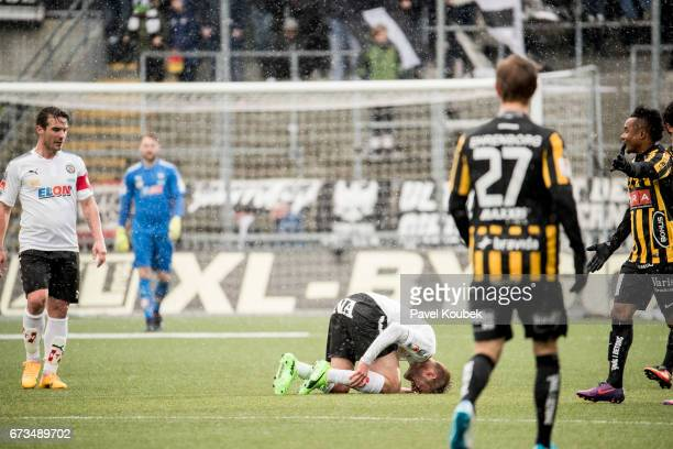 Johan Martensson of Orebro SK is in pain during the Allsvenskan match between Orebro SK and BK Hacken at Behrn Arena on April 26 2017 in Orebro Sweden