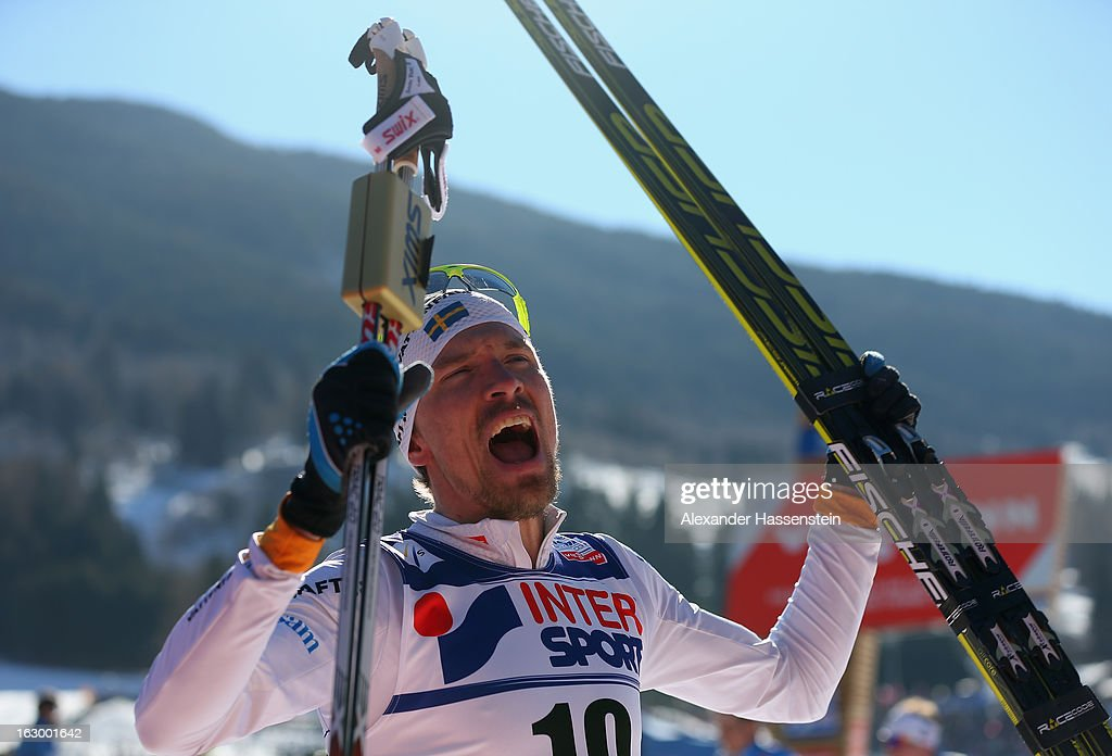 <a gi-track='captionPersonalityLinkClicked' href=/galleries/search?phrase=Johan+Olsson&family=editorial&specificpeople=724246 ng-click='$event.stopPropagation()'>Johan Olsson</a> of Sweden celebrates victory in the Men's 50Km Cross Country Mass Start at the FIS Nordic World Ski Championships on March 3, 2013 in Val di Fiemme, Italy.