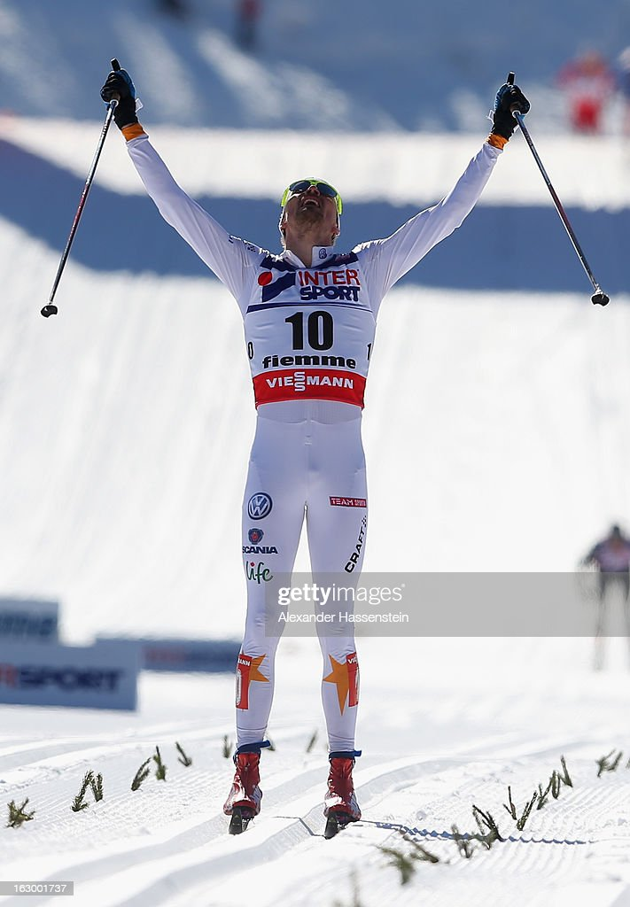 Johan Olsson of Sweden celebrates victory in the Men's 50Km Cross Country Mass Start at the FIS Nordic World Ski Championships on March 3, 2013 in Val di Fiemme, Italy.