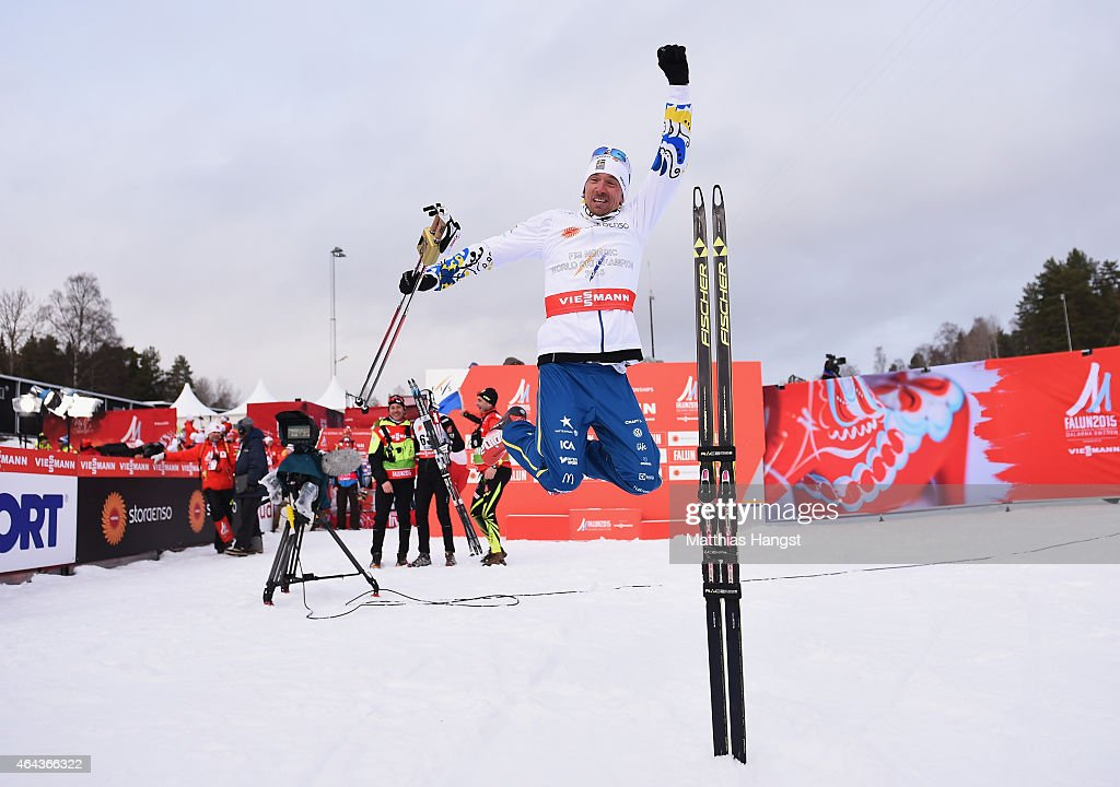 <a gi-track='captionPersonalityLinkClicked' href=/galleries/search?phrase=Johan+Olsson&family=editorial&specificpeople=724246 ng-click='$event.stopPropagation()'>Johan Olsson</a> of Sweden celebrates winning the gold medal in the Men's 15km Cross-Country during the FIS Nordic World Ski Championships at the Lugnet venue on February 25, 2015 in Falun, Sweden.