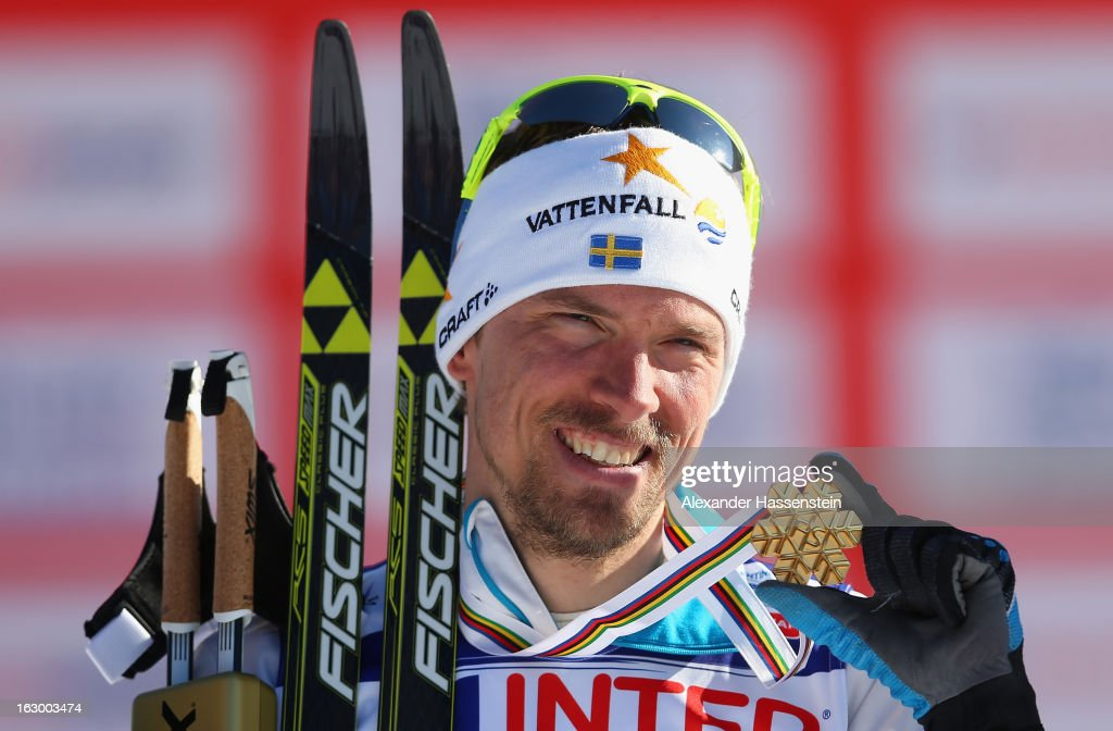 Johan Olsson of Sweden poses with his Gold medal following the Men's 50Km Cross Country Mass Start at the FIS Nordic World Ski Championships on March 3, 2013 in Val di Fiemme, Italy.
