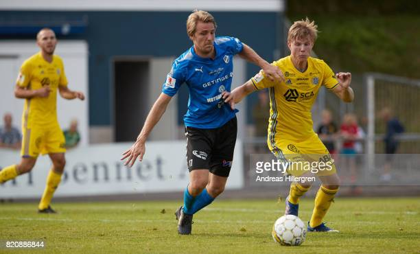 Johan Oremo of Halmstad BK and Eric Bjorkander of GIF Sundsvall during the Allsvenskan match between Halmstad BK and GIF Sundsvall at Orjans Vall on...