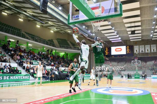 Johan Passave Ducteil of Nanterre and Hamady NDiaye of Sidigas Avellino during the Basketball Champions League match between Nanterre 92 and Sidigas...