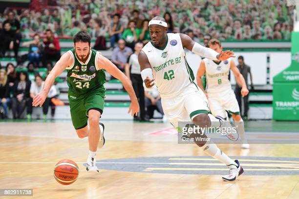 Johan Passave Ducteil of Nanterre and Lorenzo DErcole of Sidigas Avellino during the Basketball Champions League match between Nanterre 92 and...