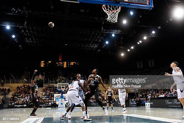 Johan PassaveDucteil and Isaiah Miles of Dijon during the Pro A match between Antibes sharks and JDA Dijon on November 4 2016 in Antibes France