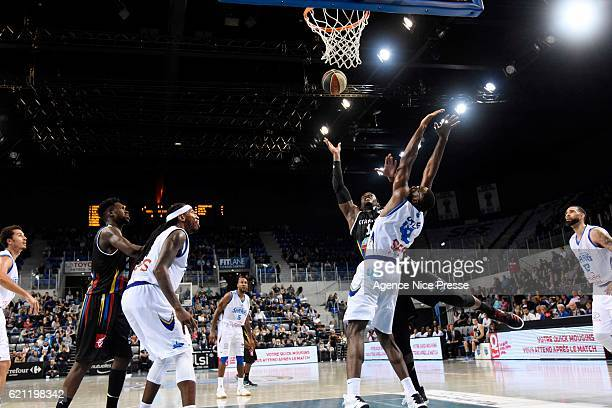 Johan PassaveDucteil of Dijon and Chris Otule of Antibes during the Pro A match between Antibes sharks and JDA Dijon on November 4 2016 in Antibes...