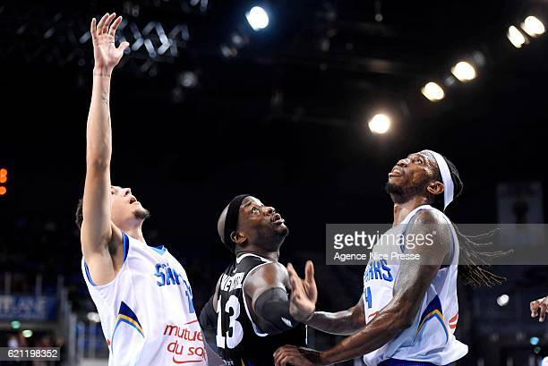 Johan PassaveDucteil of Dijon and Tim Blue and Isaia Cordinier of Antibes during the Pro A match between Antibes sharks and JDA Dijon on November 4...